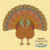 Tacksägelsehälsningkort Idérik stiliserad kalkon med dekorativa beståndsdelar Arkivfoton