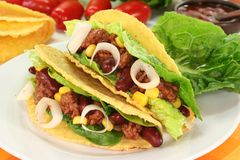Taco. Shells filled with ground beef, kidney beans and corn Royalty Free Stock Photos