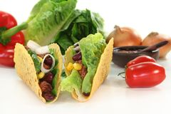 Taco. Shells filled with ground beef, kidney beans and corn Stock Images