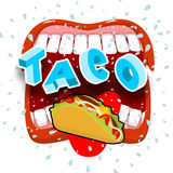Taco acute Mexican food. Open your mouth and protruding tongue ...