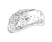 Taco Burrito nakreślenia wektoru Monochromatyczna ilustracja royalty ilustracja