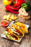 Taco. With chili con carne in a bowl Royalty Free Stock Image