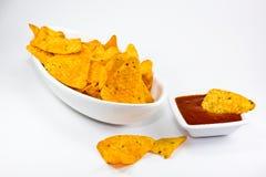 Taco chips with salsa sauce Stock Photos