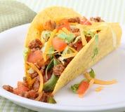 Taco Closeup. Closeup of a taco on a plate Stock Photo