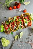 Taco on concrete background, vertical royalty free stock photos