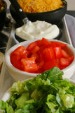 Taco condiments. Lettuce, tomato, cheese & sour cream Royalty Free Stock Images