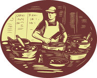 Taco Cook in Food Stall Oval Retro Royalty Free Stock Image