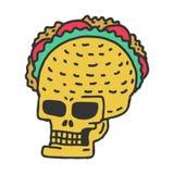 Taco del cranio che drawning Testa messicana dello scheletro con la st del fumetto dei taci Immagini Stock Libere da Diritti