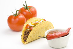 Taco delicioso, alimento mexicano fotografia de stock royalty free