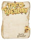 Taco-Dienstag-Partei-Flieger stockbild