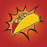 Taco fast food. Vector pop art retro style. Restaurants and street food. Healthy and unhealthy food. Menu comic style Royalty Free Stock Image