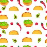 Taco guacamole, varm röd peppar, avokado, tomat Nationell mexicansk kokkonst seamless modell Användas som tapeten, kan inpackning vektor illustrationer