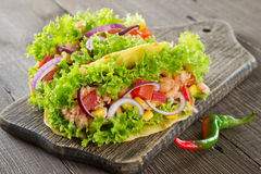 Taco. Homemade mexican taco with meat, beans, corn, tomato Royalty Free Stock Image