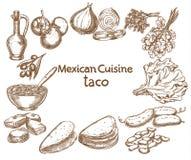 Taco, ingredienti dell'alimento Fotografie Stock Libere da Diritti