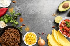 Taco ingredients with roasted beef, tomatoe salsa, corn shells,. Taco ingredients as a frame border background with roasted beef, tomatoe salsa, corn shells stock photography
