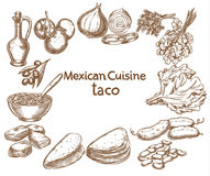 Taco, ingredients of the food Royalty Free Stock Photos