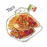taco kuchnia zieloną meksykańskiego sosu ostre tacos tradycyjne odosobniony akwarela ilustracji