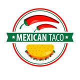 Taco logo icon isolated on white. Traditional Mexican dish Royalty Free Stock Images