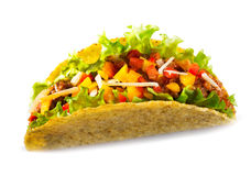 Taco with meat vegetables. On white background royalty free stock photo