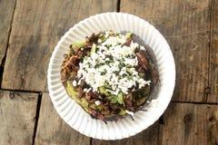 Taco mexicain de sauterelle, pain grillé comestible de tortilla d'insecte fait avec du maïs bleu et rempli de guacamole, de froma images stock