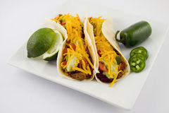 Taco, Mexican Food. Mexican Food isolated.  two tacos with hot peppers Stock Photography