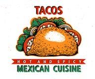 taco Mexicansk mat Traditionell mexicansk kokkonst banermall Tecknad illustration för vektor hand Vara kan bruk för snabbt stock illustrationer