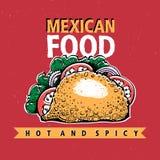 taco Mexicansk mat Traditionell mexicansk kokkonst banermall Tecknad illustration för vektor hand Vara kan bruk för snabbt royaltyfri illustrationer