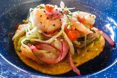 Taco mit Fischen, Puerto Morelos, Quintana Roo, Mexiko stockbild