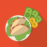 Taco and money of fast food concept Royalty Free Stock Photography
