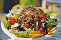 Taco Nacho Salad. Loaded Nacho or Taco Salad plate for sale at the North Carolina State Fair Grounds in Raleigh Royalty Free Stock Photo