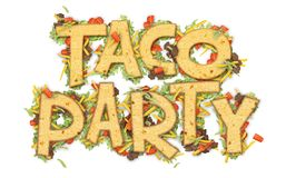 Taco Party Flyer. Banner Logo Artwork with tortilla chips lettuce, tomato, cheese, and ground beef vector illustration