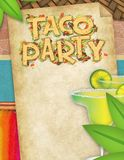 Taco Party Flyer with Margaritas. Taco party flyer art poster with margaritas in a Mexican theme background perfect for Cinco de Mayo parties and fiestas stock images