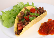 Taco on plate with salsa and lettuce Royalty Free Stock Images