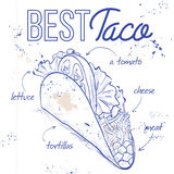 Taco recipe on a notebook page. Vector illustration of Mexican taco recipe on a notebook page. Sketch style design Royalty Free Stock Photography