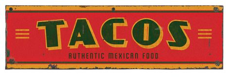 Taco Retro Tin Sign. Taco Party Retro Tin Sign Art Authentic Mexican Food Truck metal rustic grunge