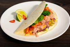 Taco's op een witte plaat Stock Foto