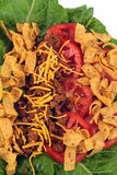 Taco Salad. A delicious taco salad with lettuce, tomato, cheese, and chips Stock Photo