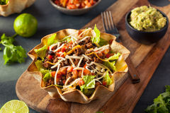 Free Taco Salad In A Tortilla Bowl Stock Photo - 66160260