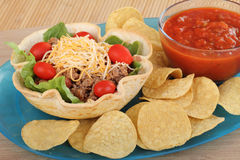 Taco Salad, Salsa and Chips Stock Photo