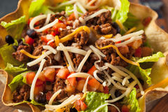 Taco Salad in a Tortilla Bowl Stock Image