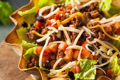 Taco Salad in a Tortilla Bowl Royalty Free Stock Photography