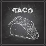 Taco scetch on a black board Royalty Free Stock Images