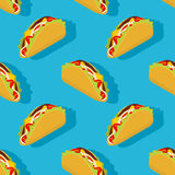 Taco seamless pattern. Traditional Mexican food background.  Royalty Free Stock Photos