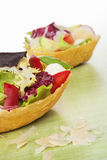 Taco shell filled with salad. Royalty Free Stock Photo