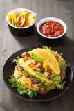 Taco shells with beef and vegetables Royalty Free Stock Photography