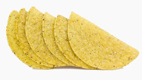 Taco Shells. Six cozy taco shells. Isolated royalty free stock images