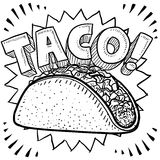 Taco sketch. Doodle style Mexican food taco sketch in vector format