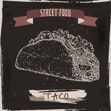 Taco sketch on black grunge background. Mexican cuisine. Stock Photo