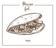 Taco sketch vector icon for Mexican cuisine food menu design Royalty Free Stock Photos