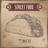 Taco skissar på grungebakgrund vektor illustrationer